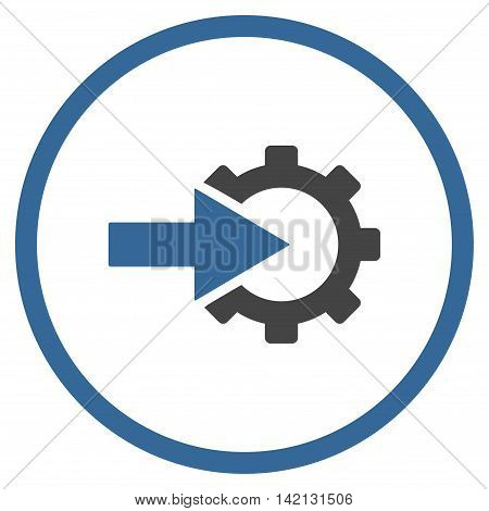 Cog Integration vector icon. Style is bicolor flat rounded iconic symbol, cog integration icon is drawn with cobalt and gray colors on a white background.