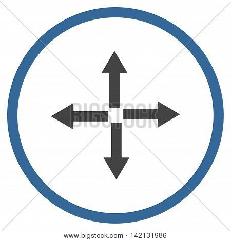 Expand Arrows vector icon. Style is bicolor flat rounded iconic symbol, expand arrows icon is drawn with cobalt and gray colors on a white background.