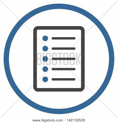 List Page vector icon. Style is bicolor flat rounded iconic symbol, list page icon is drawn with cobalt and gray colors on a white background.