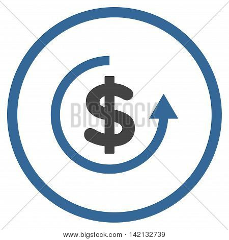 Refund vector icon. Style is bicolor flat rounded iconic symbol, refund icon is drawn with cobalt and gray colors on a white background.