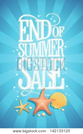 End of summer total sale design concept, blue water  backdrop with starfishes, shell and air bubbles, vintage style