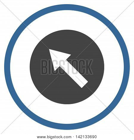 Up-Left Rounded Arrow vector icon. Style is bicolor flat rounded iconic symbol, up-left rounded arrow icon is drawn with cobalt and gray colors on a white background.