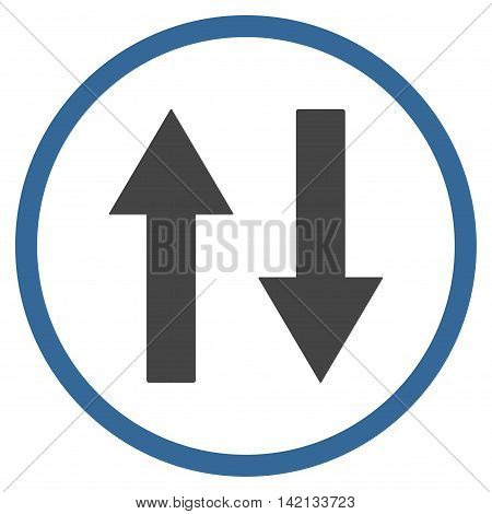Vertical Flip Arrows vector icon. Style is bicolor flat rounded iconic symbol, vertical flip arrows icon is drawn with cobalt and gray colors on a white background.