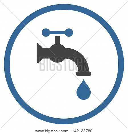 Water Tap vector icon. Style is bicolor flat rounded iconic symbol, water tap icon is drawn with cobalt and gray colors on a white background.