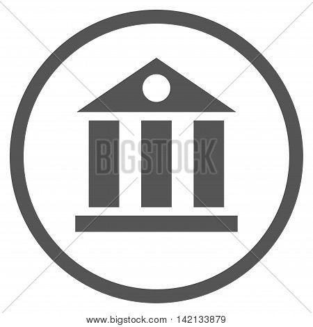 Bank Building vector icon. Style is flat rounded iconic symbol, bank building icon is drawn with gray color on a white background.