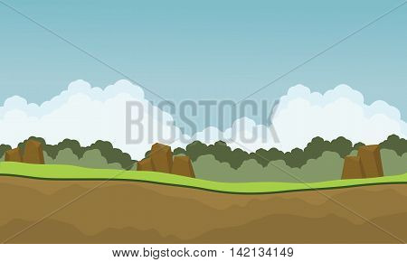 Scenery nature backgrounds game cartoon vector illustration