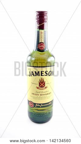 NEW YORK NY - AUGUST 10th 2016: 750ml bottle of Jameson Triple Distilled Irish Whiskey - isolated