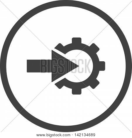 Cog Integration vector icon. Style is flat rounded iconic symbol, cog integration icon is drawn with gray color on a white background.