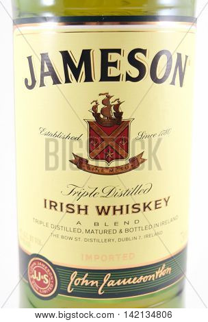 NEW YORK NY - AUGUST 10th 2016: Label of 750ml bottle of Jameson Triple Distilled Irish Whiskey - isolated