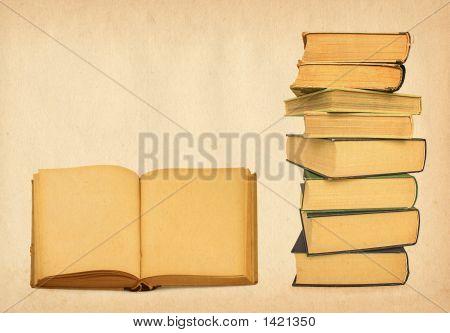 Antique Books On Grunge Background