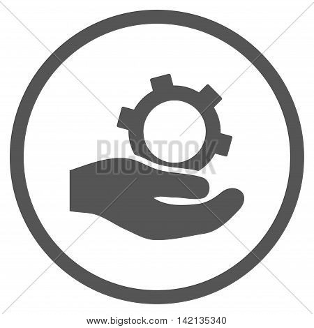 Engineering Service vector icon. Style is flat rounded iconic symbol, engineering service icon is drawn with gray color on a white background.