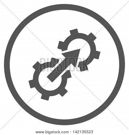 Gear Integration vector icon. Style is flat rounded iconic symbol, gear integration icon is drawn with gray color on a white background.
