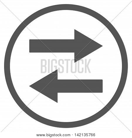Horizontal Flip Arrows vector icon. Style is flat rounded iconic symbol, horizontal flip arrows icon is drawn with gray color on a white background.