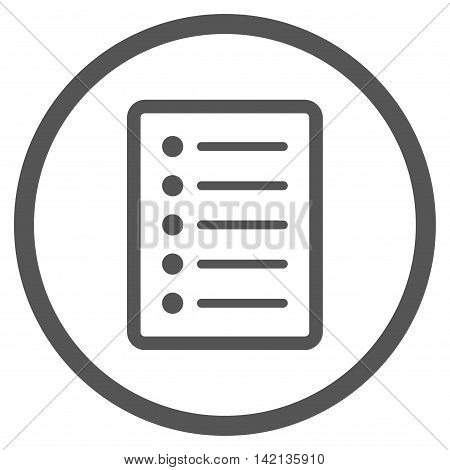List Page vector icon. Style is flat rounded iconic symbol, list page icon is drawn with gray color on a white background.