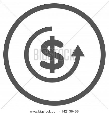 Refund vector icon. Style is flat rounded iconic symbol, refund icon is drawn with gray color on a white background.
