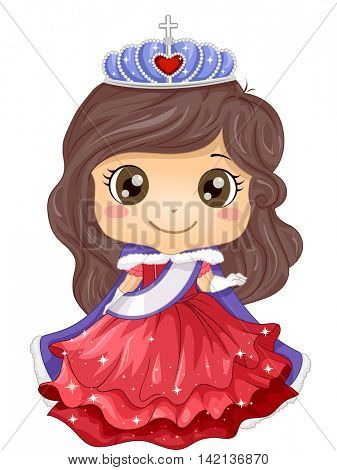 Illustration of a Young Beauty Queen Wearing a Gown and a Tiara