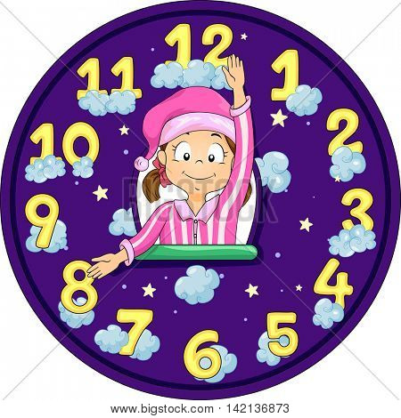 Illustration of a Little Girl in Pajamas Imitating the Hands of a Clock