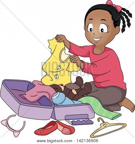 Illustration of a Little Girl Packing Her Things in a Suitcase