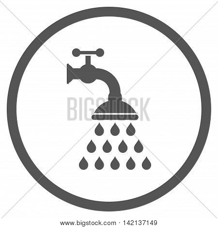 Shower Tap vector icon. Style is flat rounded iconic symbol, shower tap icon is drawn with gray color on a white background.