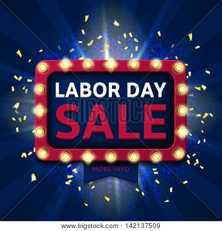 Retro backdrop for labor day sale. Banner with glowing lamps. Vector illustration with shining lights in vintage style. Background of blue dust explosion for seasonal sale.