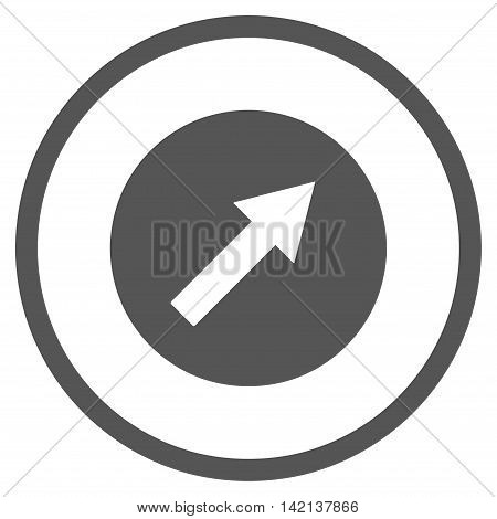Up-Right Rounded Arrow vector icon. Style is flat rounded iconic symbol, up-right rounded arrow icon is drawn with gray color on a white background.