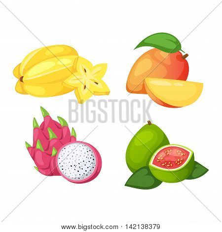 Mix of colored tropical fruits on white background. Composition of tropical and mediterranean fruits healthy food concepts decoration. Vitamin healthy eating food tropical fruits vegetarian nutrition.