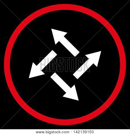 Centrifugal Arrows vector icon. Style is bicolor flat rounded iconic symbol, centrifugal arrows icon is drawn with red and white colors on a black background.