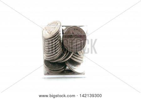 Thai Coins /two baht on white background