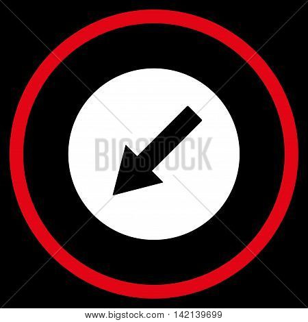 Down-Left Rounded Arrow vector icon. Style is bicolor flat rounded iconic symbol, down-left rounded arrow icon is drawn with red and white colors on a black background.
