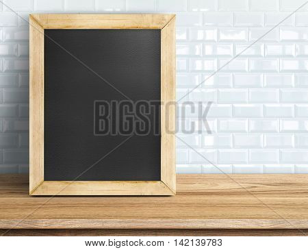 Blank Blackboard On Tropical Wooden Table At White Tile Wall,template Mock Up For Adding Your Design