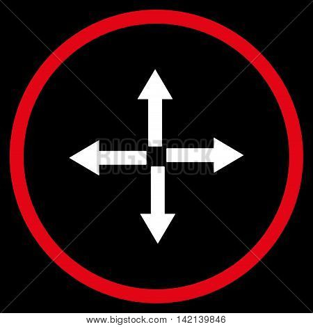 Expand Arrows vector icon. Style is bicolor flat rounded iconic symbol, expand arrows icon is drawn with red and white colors on a black background.