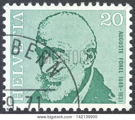 MOSCOW RUSSIA - CIRCA APRIL 2016: a post stamp printed in SWITZERLAND shows a portrait of Auguste Forel the series
