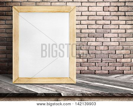 Blank Whiteboard Wood Frame On Diagonal Wooden Table At Red Brick Wall,template Mock Up For Adding Y