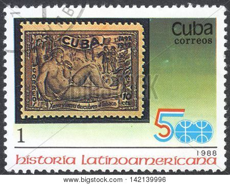 MOSCOW RUSSIA - CIRCA APRIL 2016: a post stamp printed in CUBA shows an old post stamp the series