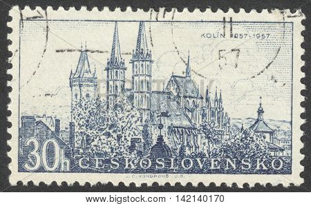 MOSCOW RUSSIA - CIRCA APRIL 2016: a post stamp printed in CZECHOSLOVAKIA shows the Kolin cathedral the series