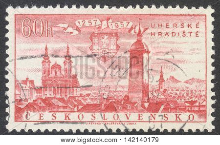 MOSCOW RUSSIA - CIRCA APRIL 2016: a post stamp printed in CZECHOSLOVAKIA shows Uherske Hradiste town the series