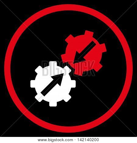 Gear Integration vector icon. Style is bicolor flat rounded iconic symbol, gear integration icon is drawn with red and white colors on a black background.