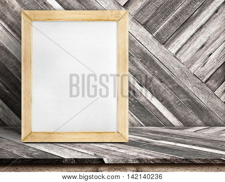 Blank Whiteboard Wood Frame On Diagonal Wooden Table At Diagonal Wood Wall,template Mock Up For Addi