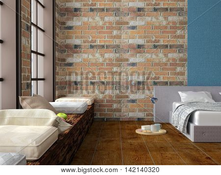 3D illustration of bedroom in loft with red brick walls, soft bed, rounded trencher with breakfast on hardwood floor, large windows with pillows for sitting on large window sill
