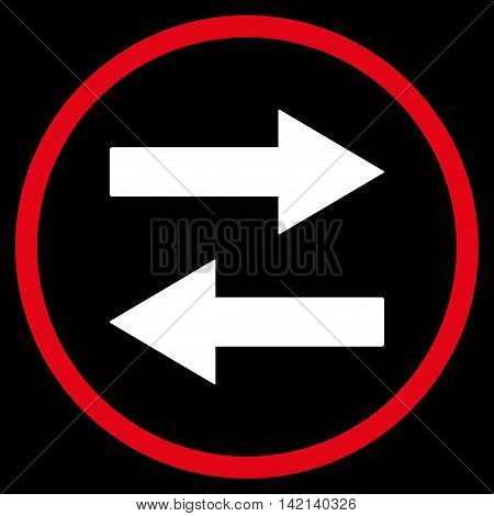 Horizontal Flip Arrows vector icon. Style is bicolor flat rounded iconic symbol, horizontal flip arrows icon is drawn with red and white colors on a black background.