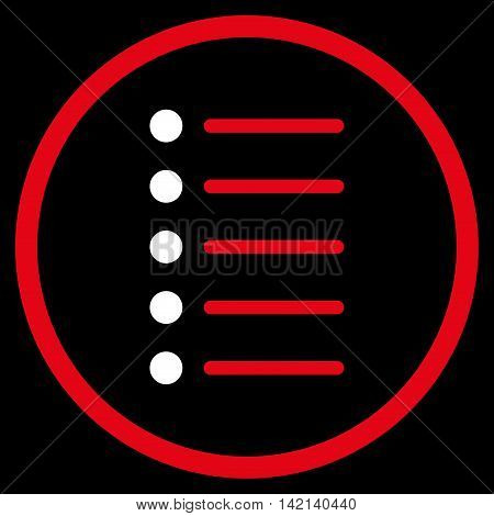 Items vector icon. Style is bicolor flat rounded iconic symbol, items icon is drawn with red and white colors on a black background.
