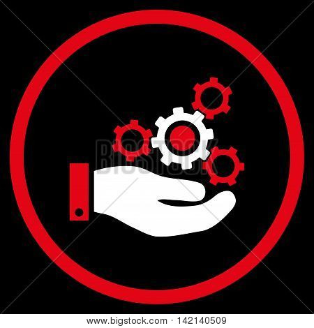 Mechanics Service vector icon. Style is bicolor flat rounded iconic symbol, mechanics service icon is drawn with red and white colors on a black background.
