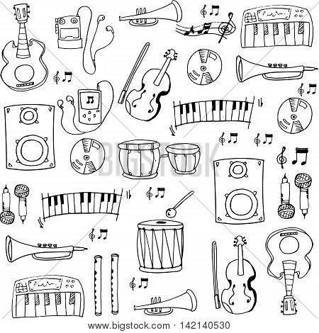 Doodle hand draw music set stock vector