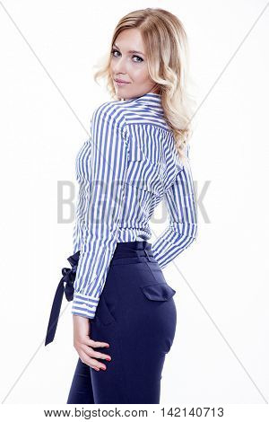 Figure of beautiful young adult attractive sexy and sensuality pretty blonde woman elegance business style dress, Isolated on white background