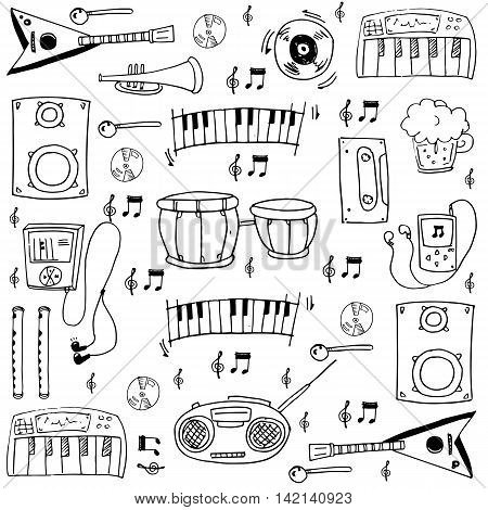 Object music doodles vector art stock collection