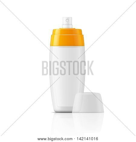 White plastic spray bottle template with blanc label for protection or tanning oil, lotion, body milk. Ready for your design. Vector illustration.