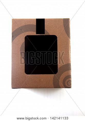 brown paper box with white background on white