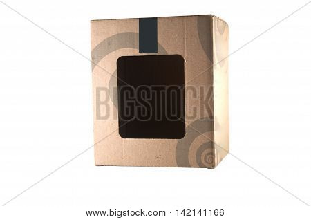 empty brown paper box with white background