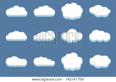 Set of clouds in the blue sky. White cloud design and cloudscape vector illustration