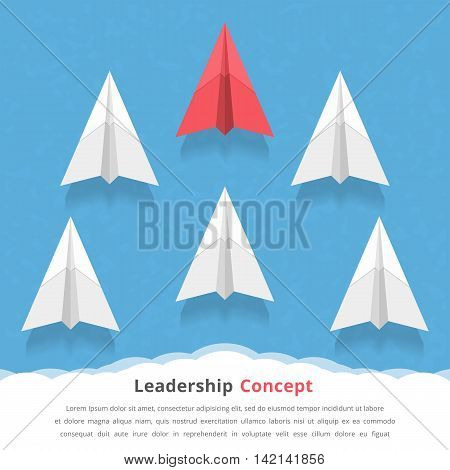Red paper airplane as a leader among white airplanes, leadership, teamwork, motivation, stand out of the crowd concept, vector eps10 illustration